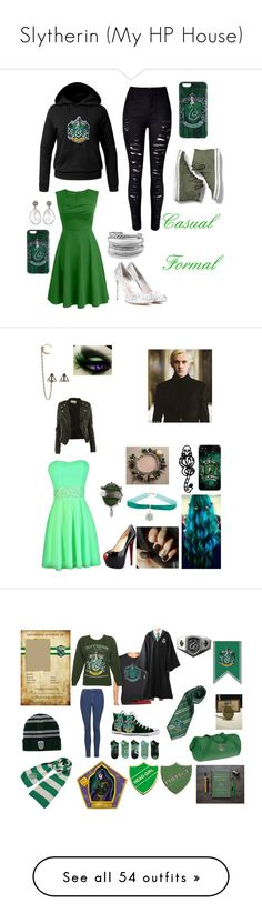 """Slytherin (My HP House)"" by ghoul1010 ❤ liked on Polyvore featuring harry potter, slytherin, text, quotes, books, accessories, acessorios, WithChic, Keds and Chicnova Fashion"