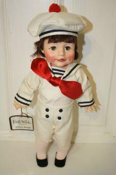 "1979 Effanbee Faith Wicks 'Anchors Aweigh' doll MINT with tag. Measures approx: 14"". Green sleepy eyes with dark hair $45"