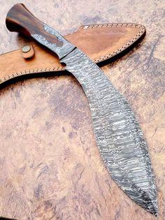 Damascus-Knife-Custom-Handmade-16-00-Inches-Rose-Wood-HANDLE-Kukri -Knife  #Damascus