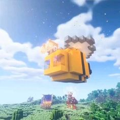 A Minecraft Bee tutorial (You can even use it as a house! Minecraft Mods, Minecraft Farmen, Casa Medieval Minecraft, Minecraft Welten, Cute Minecraft Houses, Minecraft House Tutorials, Minecraft Houses Survival, Minecraft Houses Blueprints, Minecraft House Designs