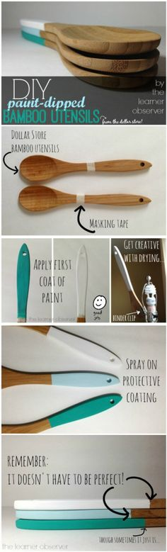 DIY Paint-Dipped Bamboo Utensils (from the Dollar Store!) by The Learner Observer Bamboo Art, Bamboo Crafts, Decor Crafts, Wood Crafts, Diy Home Decor, Dollar Store Crafts, Dollar Stores, Paint Dipping, Kids Wood