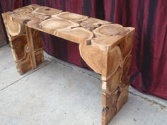 natural timber log sideboard bench