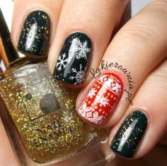 Black, gold and red Christmas nails
