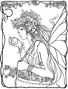 elf fairy fae wings fantasy elves faries sprite nymph pixie faeries enchantment forest whimsical mischievous coloring pages colouring adult detailed