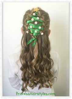 Christmas tree hairstyle tutorial