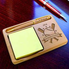 Personalized Baseball All-Star Wooden Notepad & Pen Holder