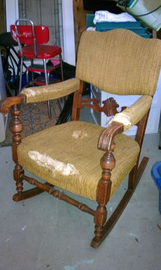 Before picture of rocking chair - still looking for fabric to updated it. Might paint it too.???