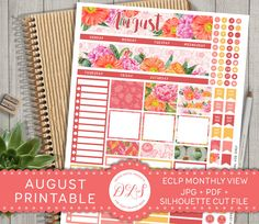 ♥♥♥ DESCRIPTION: Printable August monthly view planner stickers for personal use. Fits 2016/2017 Erin Condren Life Planner. -->>> This is digital product, no physical item will be shipped to you! <<<<-- ♥♥♥ YOU WILL RECEIVE: - 1 high quality JPG files, 300 dpi, 8.5x11 inches (letter size) - 1 PDF files, 8.5x11 inches (letter size) - 2 Silhouette Cut Files - formatted and ready to print & cut! - Read me PDF with printing instructions ♥♥♥ YOU MIGHT ALSO LIKE: Matching VERTICAL Weekly Pla...