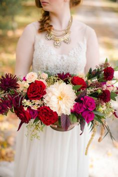 berry colored floral centerpiece