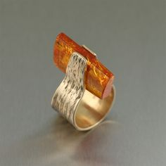 Ring | John S Brana.  Bronze Bark Ring with Amber