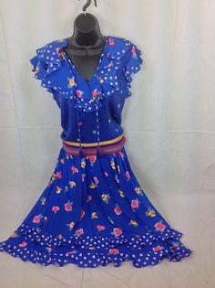 Diane Freis Dress For Marisa Christina 2pc Sweater Skirt Blue Ruffles Polkadot #DianeFreis #Maxi #Casual
