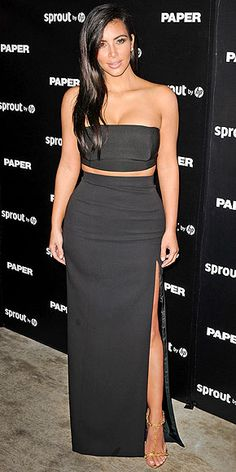 Last Night's Look: Love It or Leave It? | KIM KARDASHIAN | Most people aren't rewarded for breaking things. But then again, most people aren't Kim. The star steps out to a Miami Paper magazine at a party celebrating her Break the Internet issue cover in a low-key but still very sexy two piece Mugler bandeau top and J. Mendel skirt with an asymmetrical thigh-high slit and gold sandals.
