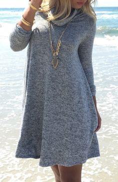 high neck casual dress//