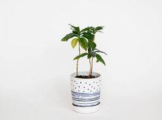 Lovely white and black handmade ceramic planter with saucer