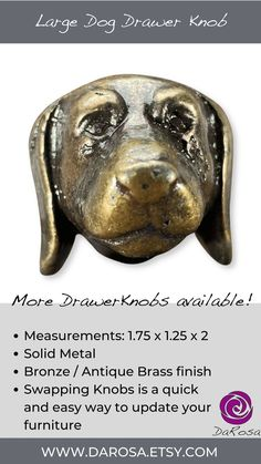 Drawer Knobs are a quick and easy way to spruce up your furniture. - Use: Cabinet knobs, Drawer Knobs, Cupboards Knob, Dresser Knobs - Antique brass / metal - Measurements: 1.75 x 1.25 x 2 (very heavy!)