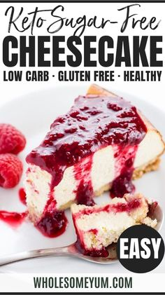 Low Carb Cheesecake Recipe - Sugar-Free Keto Cheesecake - A gluten-free, low carb cheesecake recipe that's EASY to make with only 8 ingredients and 10 minutes prep time. This sugar-free keto cheesecake tastes just like the real thing - delicious! #wholesomeyum #keto #lowcarb #dessert #glutenfree Low Carb Sweets, Low Carb Desserts, Low Carb Recipes, Dessert Recipes, Dessert Ideas, Ketogenic Desserts, Keto Snacks, Ketogenic Diet, Low Carb Cheesecake Recipe