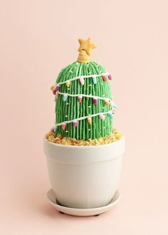 DIY Christmas Cactus Cake