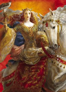 Eleanor of Aquitaine (1122/1124 - 1204) married King Louis VII of France and as queen of France, she participated in the unsuccessful Second Crusade. (this is a modern painting and Eleanor is shown here as a very beautiful woman, but my next pin shows her not as preety as this painting)