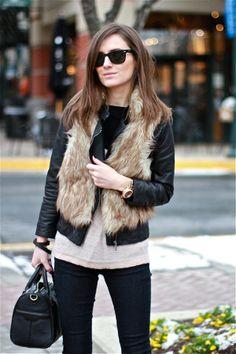 Faux fur vest. Leather jacket. Via Classy and fabulous