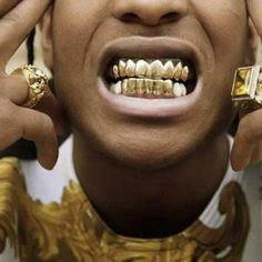 Gold Grillz 24K Plated Teeth Mouth Grills Bling Hip Hop Gangsta Gangster