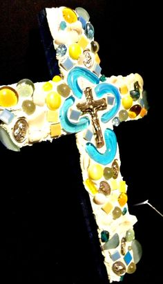 seaglass mosaic cross with 7 religious  medals and by 2STARart, $42.00