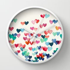 """""""Heart Connections"""" - watercolor painting ~ Wall Clock W/choice of frame (natural/white/ black) & the hands can be Black or White - is 10"""" in Diameter W/High-impact plexiglass Crystal face & has hook to hang it, reqs x1 AA battery (not inc.) by artist 'Micklyn' avail on 'Society6'♥❤♥"""