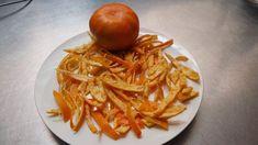 Cáscaras de mandarina confitadas, pasabocas, deliciosas. Japchae, Spaghetti, Chicken, Meat, Ethnic Recipes, Desserts, Food, Youtube, Mandarin Oranges