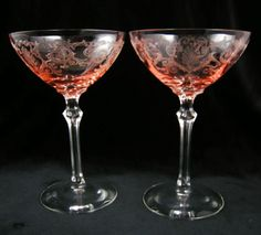 Pair of Pink Fostoria Versailles High Sherbets