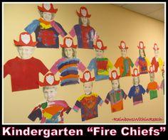 "Kindergarten ""Fire Chief"" Self Portraits for Fire Safety Month via RainbowsWIthinReach"