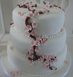 Cherry blossom wedding cake by Himmelske-kager, via Flickr