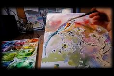 Watercolor and ink painting Spring Bird by Ginette on Vimeo