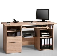Consolidate your #officefurniture and #computeraccessories with the help of this Capella Sanoma oak computer work station. This furniture piece features plenty of storage area with the help of drawers and compartments for computer belongings.