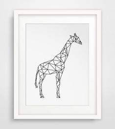 INSTANT DOWNLOAD: Geometric Black and White Giraffe Wall Art NO PHYSICAL PRINTS INCLUDED === Print out this modern wall artwork