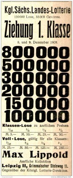 Original-Werbung/ Anzeige 1909 - KÖNIGL. SÄCHSISCHE LANDES-LOTTERIE / LIPPOLD - LEIPZIG - ca. 45 x 110 mm