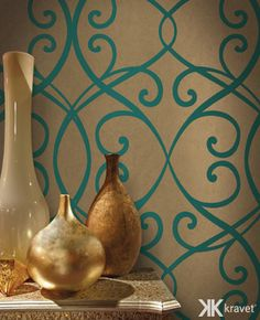 Winfield Thybony, turquoise and gold wallcovering