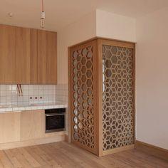 Studio Ben Allen uses geometric screens to create adaptable London apartment › Decor, Interior, Apartment Interior, Temple Design For Home, Screen House, Decor Interior Design, Room Door Design, Room Partition Designs, Pooja Room Door Design