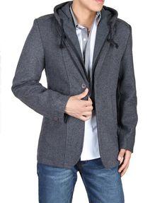 Madek male suit slim blazer detachable hat woolen outerwear casual men's clothing(China (Mainland))