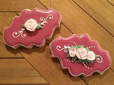 Rose plaque cookie, royal icing