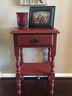 Refinished in ASCP Primer Red. Distressed.