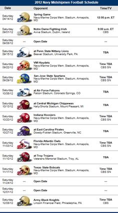 Navy Midshipmen  2012 Football Schedule https://www.fanprint.com/licenses/air-force-falcons?ref=5750