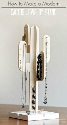 DIY: Modern Cactus Jewelry Stand