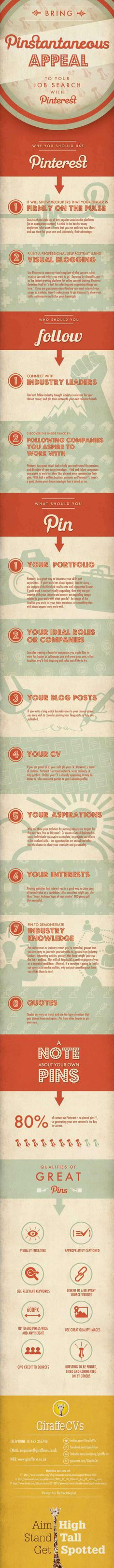 Appeal to your job search with Pinterest #infografia #infographic #socialmedia