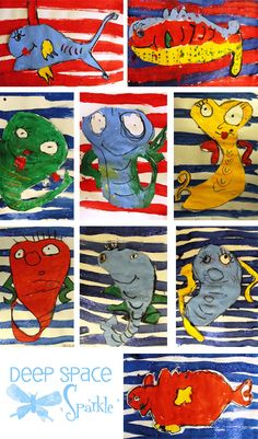 Seuss Day: One Fish Two Fish Art Project One Fish Two Fish…Pastels, tempera paints, glitter and glue all come together to help create a Dr. Lesson plan is from Patty @ Deep Space Sparkle! Dr Seuss Art, Dr Seuss Crafts, Dr Suess, Kindergarten Art Lessons, Art Lessons Elementary, Art 2nd Grade, Second Grade, Classe D'art, Deep Space Sparkle