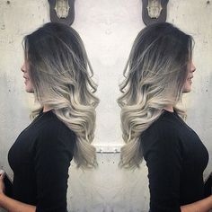 Silver Grey Ombre by @hairloungenyc