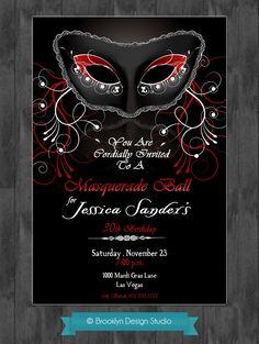 Masquerade Party Custom Designed Invitation - Black, Red and White - Mardi Gras- Masquerade or Mardi Gras Theme - Digital File. $15.00, via Etsy.
