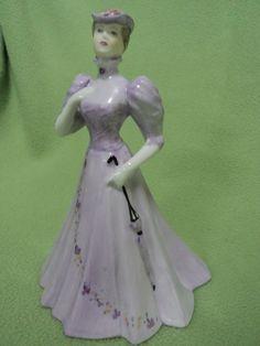 Coalport Figure Figurine Christine Sculpture Mauve Purple Bone China Statue #Coalport