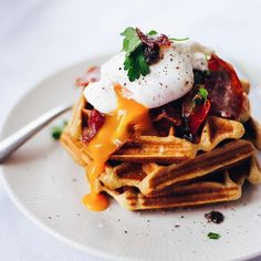 Hangover Breakfast Black Truffle Waffles And Poached Egg