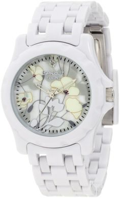 Sprout Women's ST/6005MPWT Diamond Dial Floral Print White Corn Resin Bracelet Watch: Watches