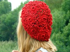 Crochet  hat summer women's hat beret Accessories by SeasonFashion