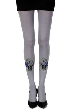 "Shop discreetly for our Tights Womens Hosiery Zohara ""Guns And Roses""? Grey (Grey/Multi) UK STOCK + FRE #lingerie"